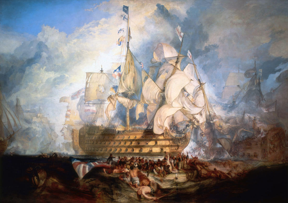 HMS Victory in action at the Battle of Trafalgar on 21st October 1805 during the Napoleonic Wars: picture by Joseph Mallord William Turner