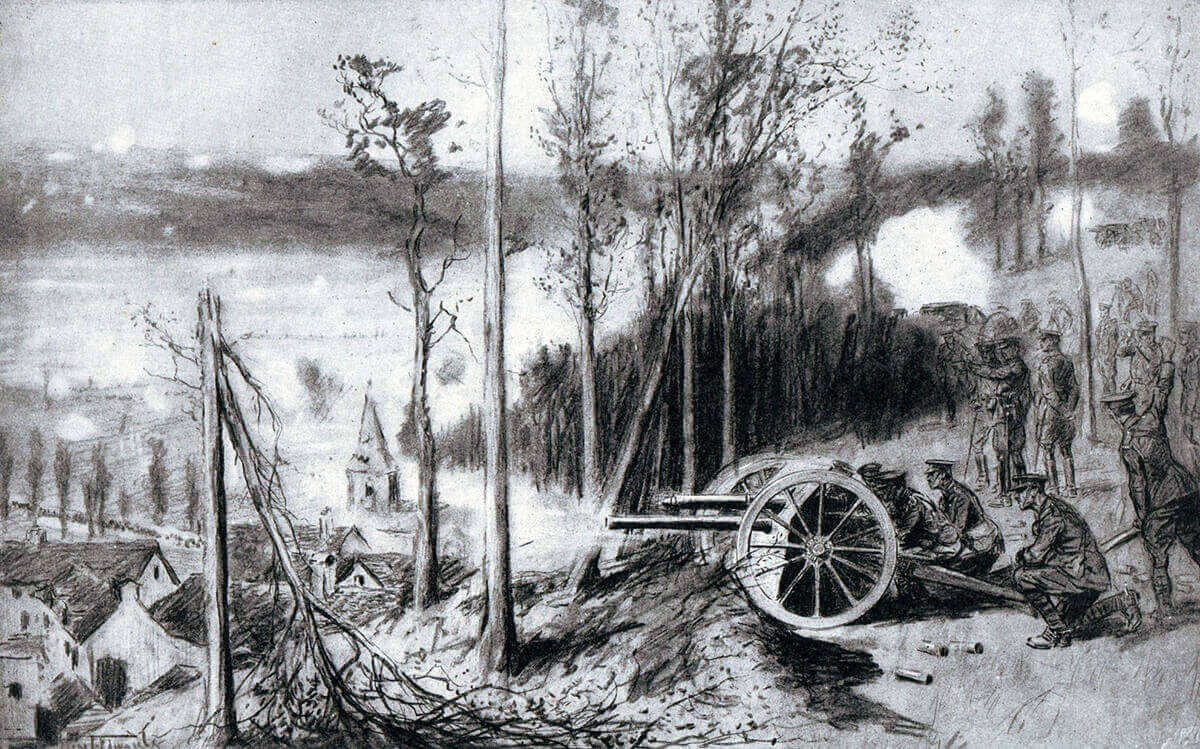British RFA 18 pounder field gun in action during the Battle of the Aisne, 10th to 13th September 1914 in the First World War
