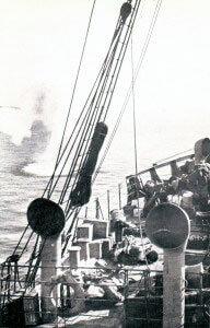 SS Clacton, Anzac landing ship, under shrapnel fire just after three Australians were killed