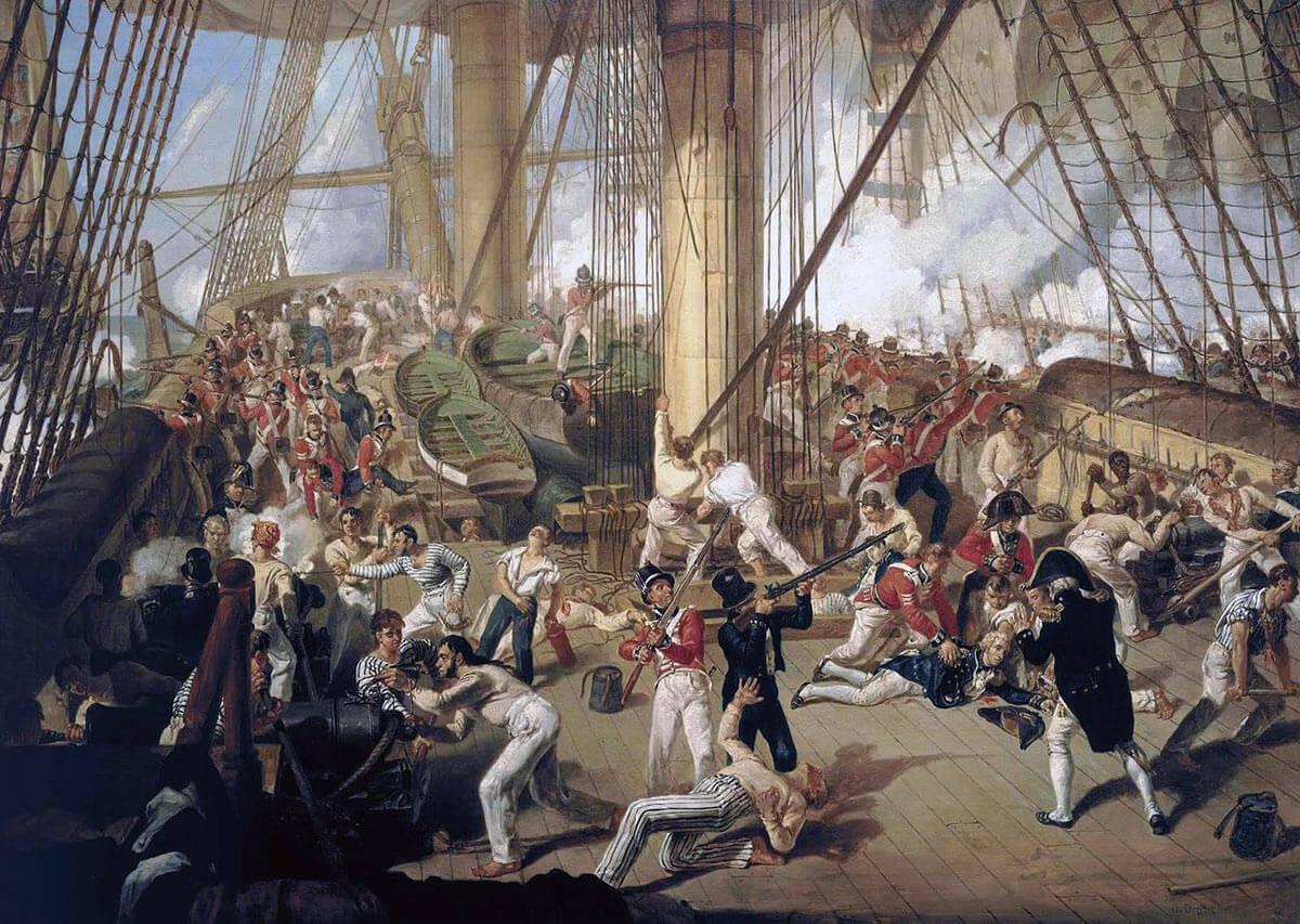 'Fall of Nelson' at the Battle of Trafalgar on 21st October 1805 during the Napoleonic Wars: picture by Denis Dighton