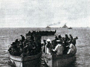 Royal Marine detachment landing at Kum Kale on 4th March 1915