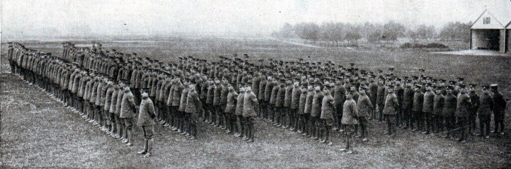 The Royal Flying Corps on parade in 1914 before the War: Battle of the Marne, fought from 6th to 9th September 1914, during the First World War
