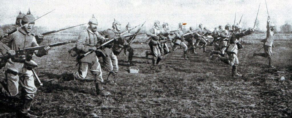 German infantry attack: Battle of the Marne, fought from 6th to 9th September 1914, during the First World War