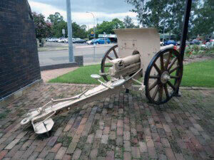 75 mm Turkish field gun at the War Memorial, Windsor, New South Wales, Australia: Gallipoli Part III, ANZAC landing on 25th April 1915 in the First World War