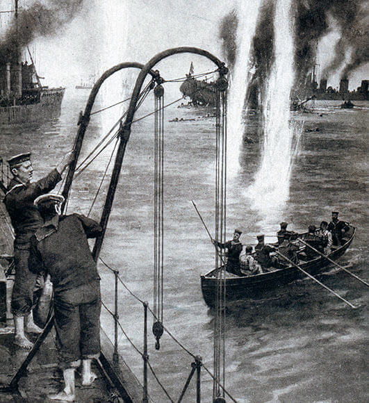 British destroyers rescuing the crew of V187 during the Battle of Heligoland Bight on 28th August 1914 in the First World War
