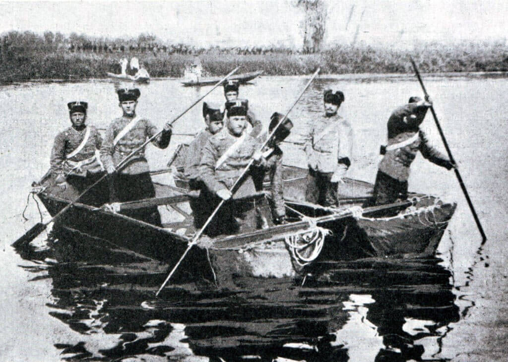 German Hussars crossing a river:Battle of the Marne, fought from 6th to 9th September 1914, during the First World War