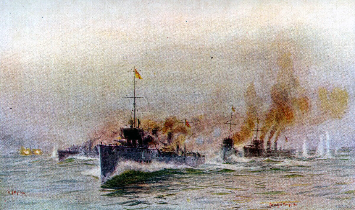 British destroyers engaging SMS Mainz during the Battle of Heligoland Bight on 28th August 1914 in the First World War: picture by Lionel Wyllie