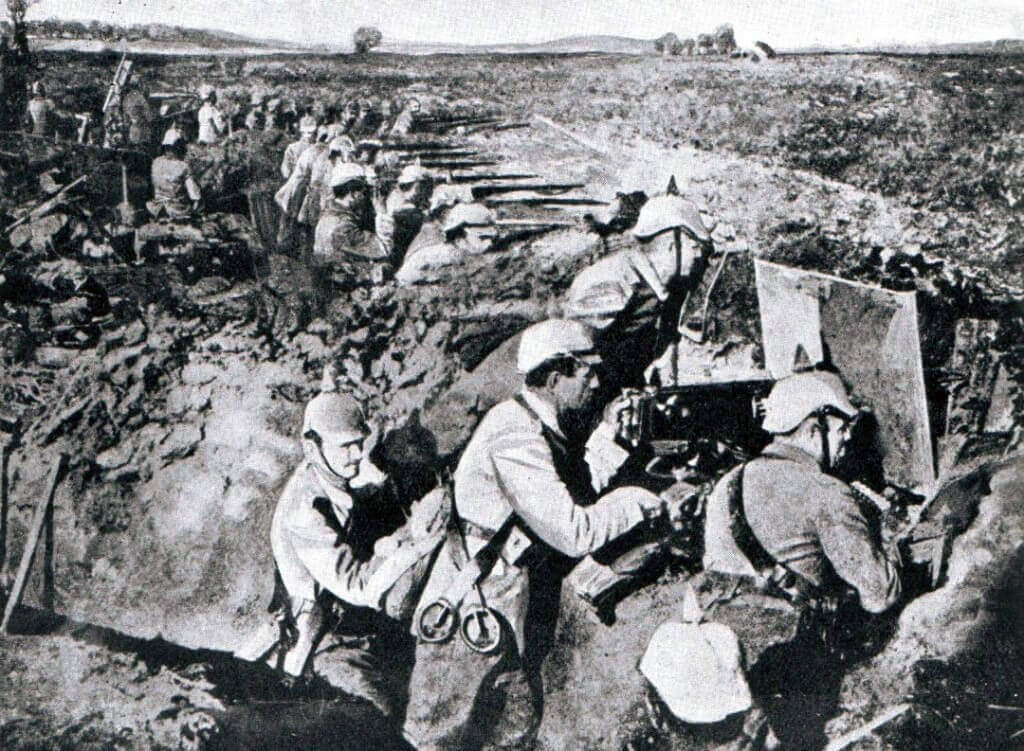 German infantry during theBattle of the Marne, fought from 6th to 9th September 1914, during the First World War