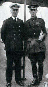Vice Admiral Sir John de Robeck and General Sir Ian Hamilton on board HMS Queen Elizabeth at Mudros