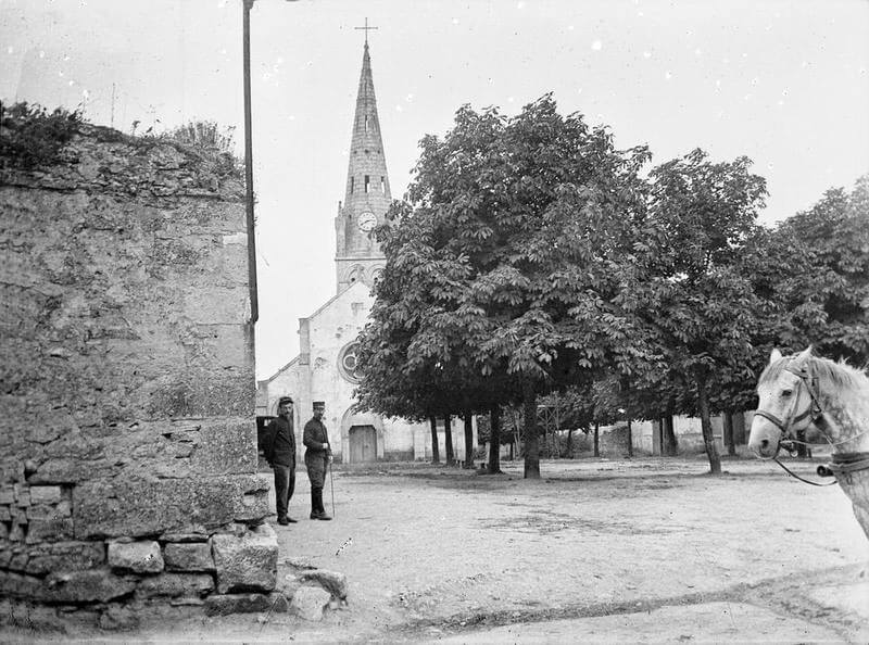 The church at Néry: Battle of Néry on 1st September 1914 in the First World War