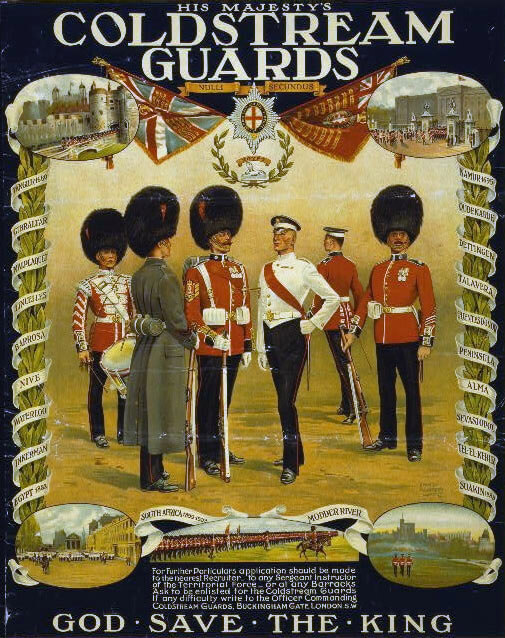 Coldstream Guards recruiting poster: Battle of Villers Cottérêts on 1st September 1914 in the First World War