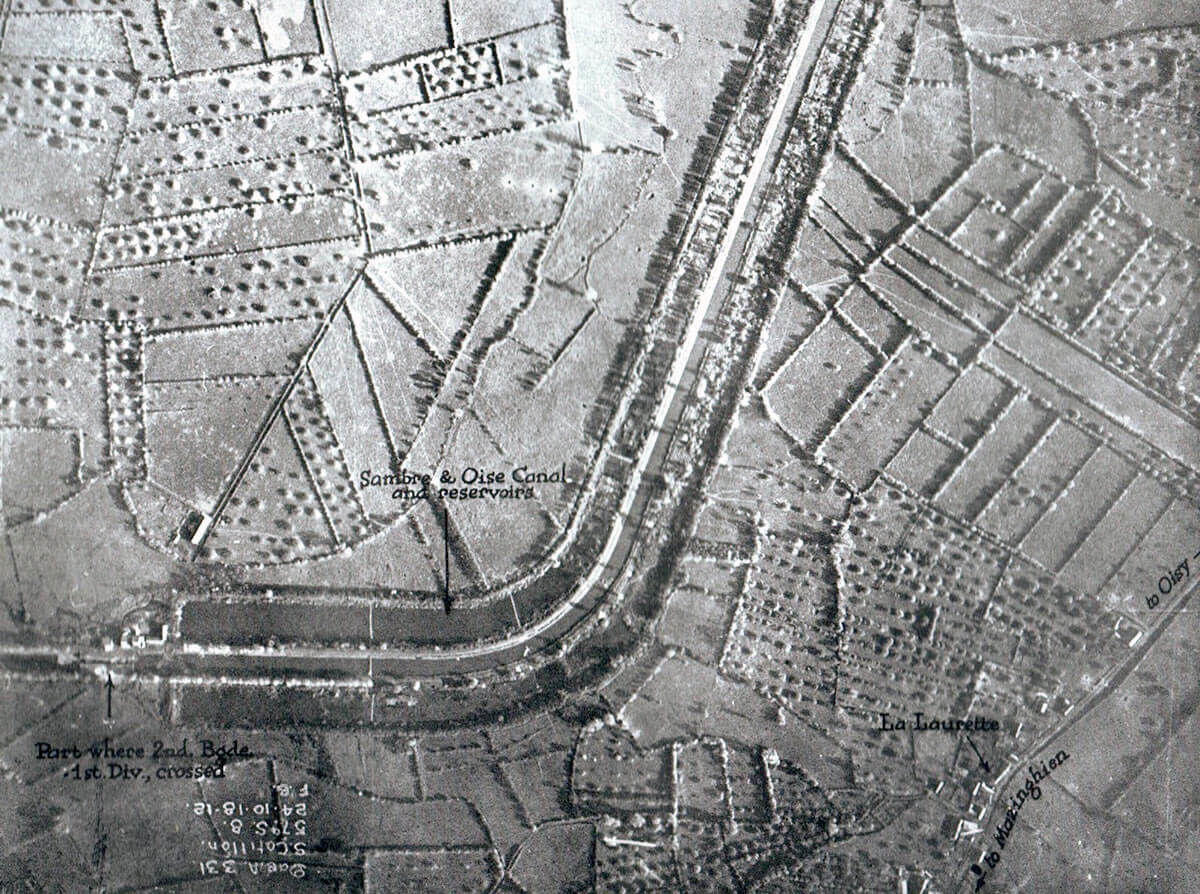 An aerial photograph showing the field layout on either side of the Sambre and Oise Canal at Oisy: Battle of Étreux on 27th August 1914 in the First World War