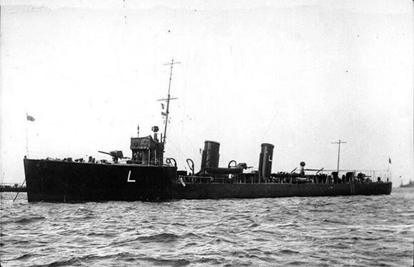 British destroyer HMS Liberty; one of the destroyers of 4th Division of 1st Destroyer Flotilla, heavily damaged by gunfire from SMS Mainz during the Battle of Heligoland Bight on 28th August 1914 in the First World War