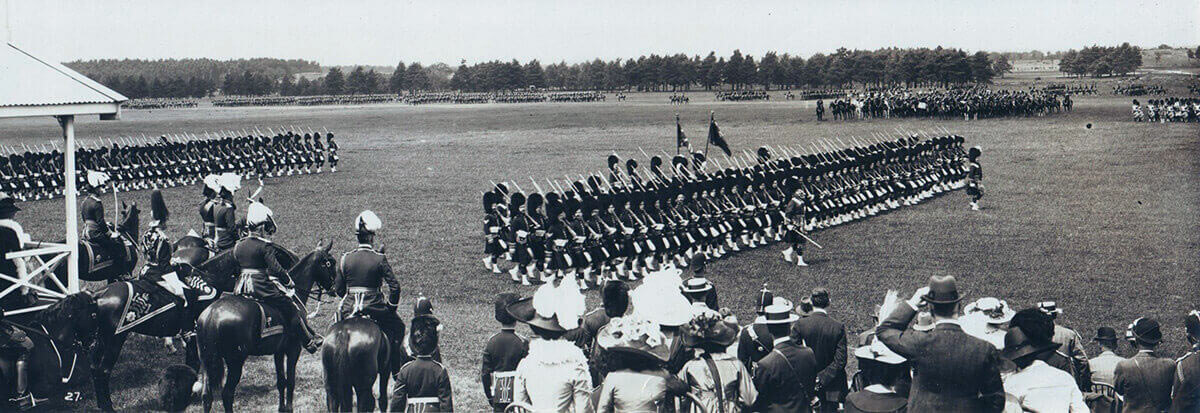 1st Queen's Own Cameron Highlanders marching past King George V in June 1914 at Aldershot before the Great War: Battle of the Aisne, 10th to 13th September 1914 in the First World War