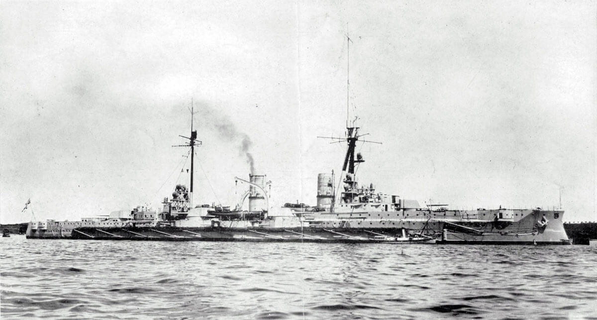 German armoured cruiser SMS Blucher sunk at the Battle of Dogger Bank on 24th January 1915 in the First World War