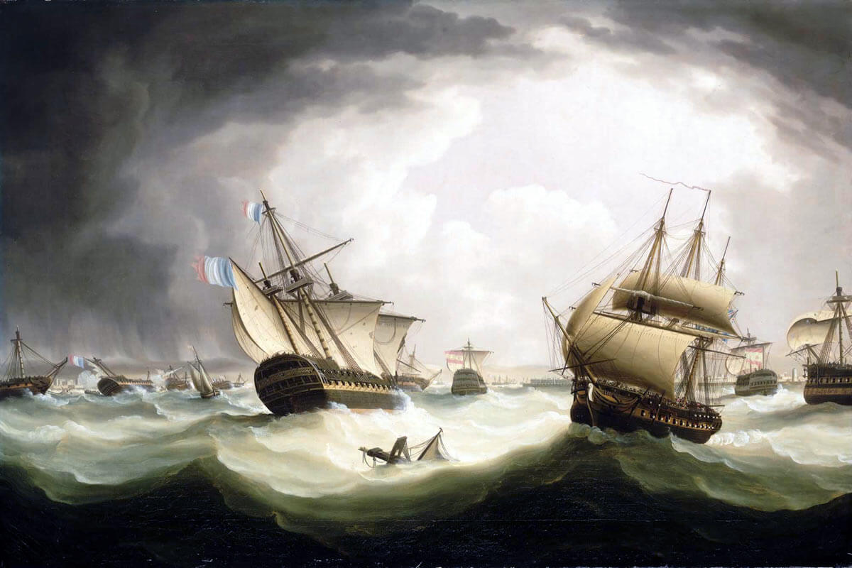 French ships scattered in the storm that followed the Battle of Trafalgar on 21st October 1805 during the Napoleonic Wars