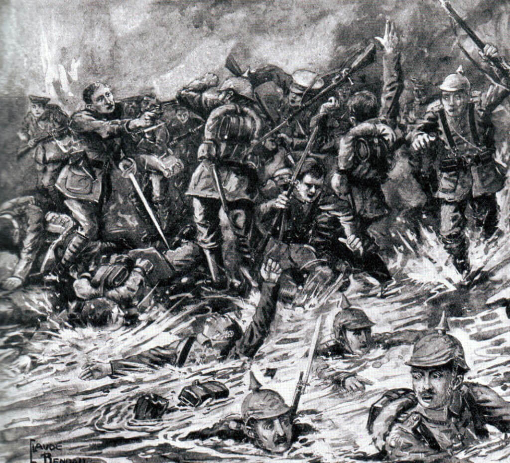 Contemporary illustration of fighting on the Marne River, with the caption 'We killed them on the bank then we drowned them in the river':Battle of the Marne, fought from 6th to 9th September 1914, during the First World War