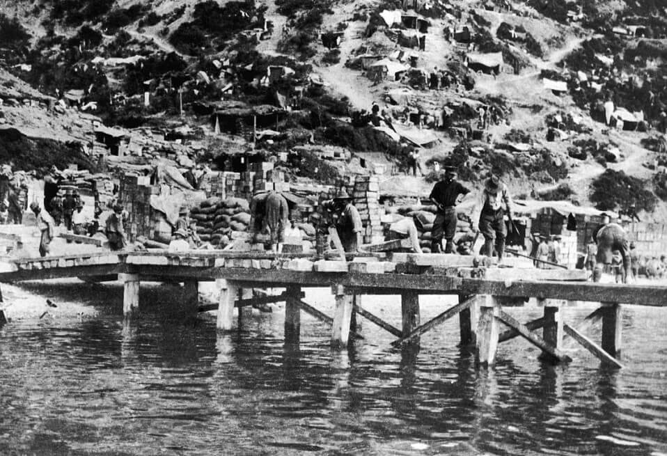 Australian engineers building a jetty at Anzac Cove on Gallipoli 25th April 1915: Gallipoli Part III, ANZAC landing on 25th April 1915 in the First World War