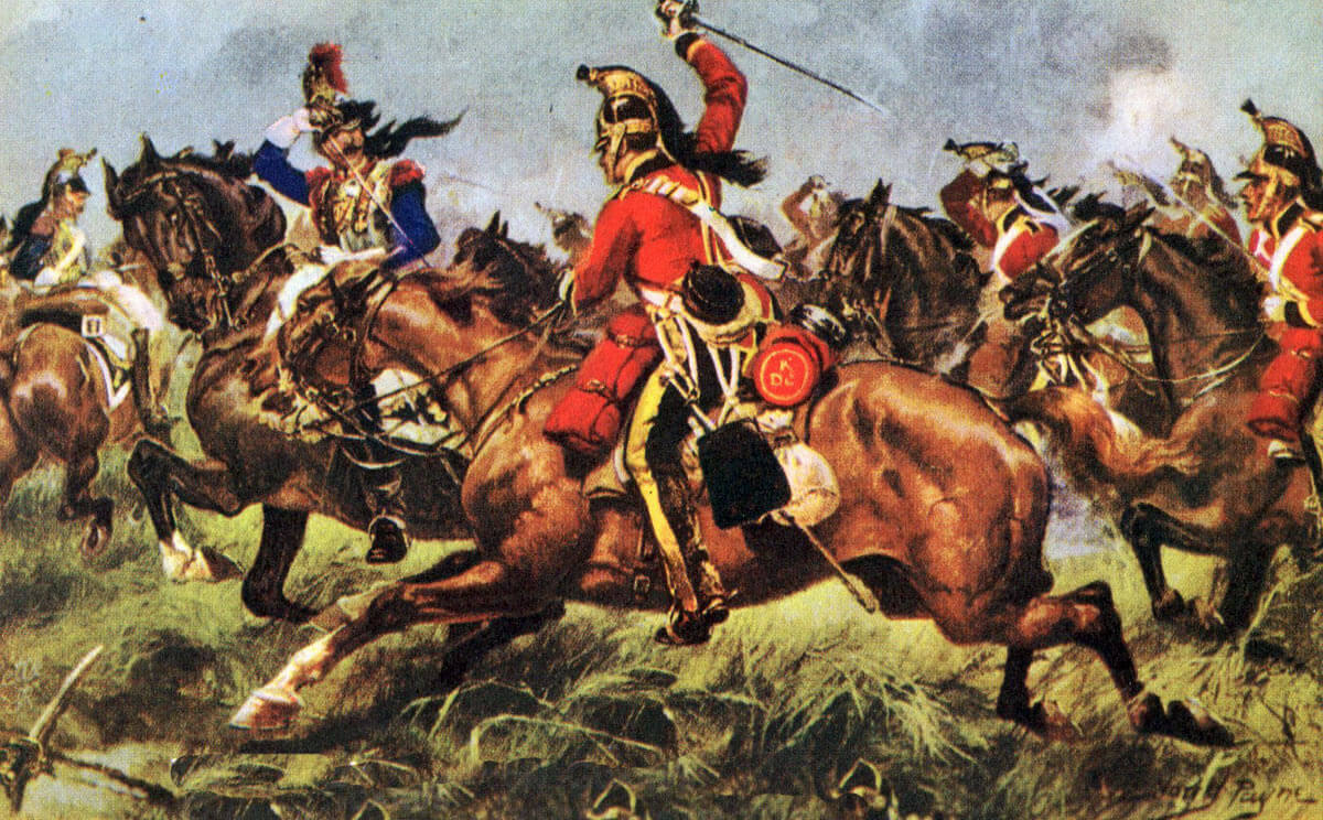 King's Dragoon Guards at the Battle of Waterloo on 18th June 1815: picture by Harry Payne