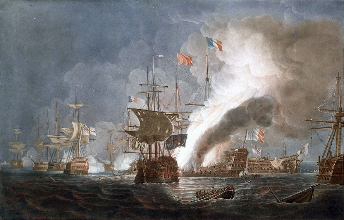 HMS Bellerophon dismasted is on the right, astern of the burning French Flagship L'Orient at the Battle of the Nile on 1st August 1798 in the Napoleonic Wars: picture by Thomas Whitcombe