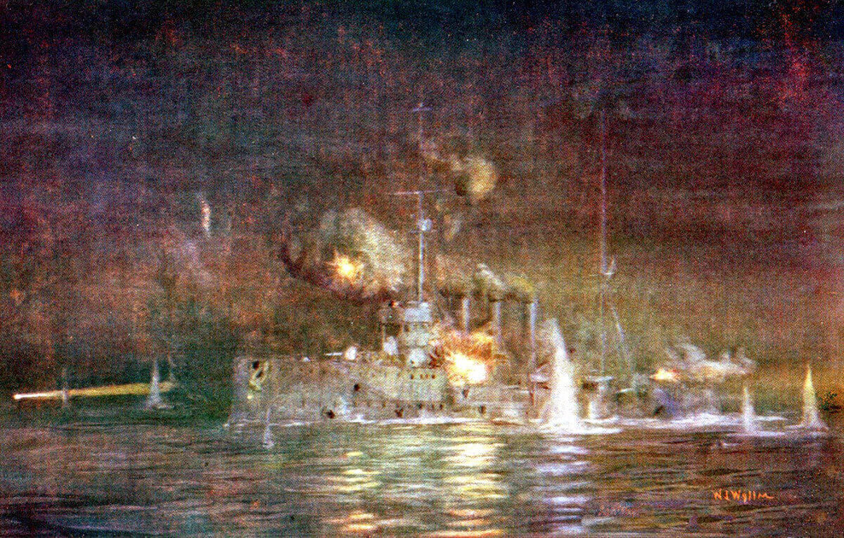 British light cruiser HMS Amethyst engaging Turkish batteries at Kephez Point on the night of 14th March 1915, in support of the mine sweeping operation: Gallipoli campaign Part I: the Naval Bombardment, March 1915 in the First World War: picture by Lionel Wyllie