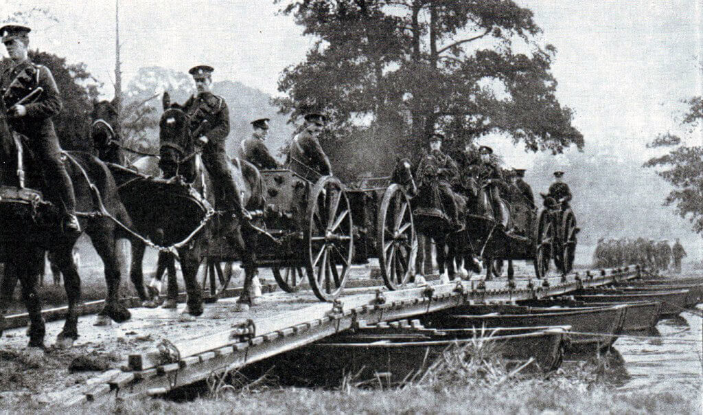 British troops crossing a pontoon bridge in 1914: Battle of the Marne, fought from 6th to 9th September 1914, during the First World War