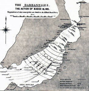Plan of the attack by the British and French capital ships on the Dardanelles Narrows on 18th March 1915, leading to the loss of three ships and the damaging of two more: Gallipoli campaign Part I: the Naval Bombardment, March 1915 in the First World War