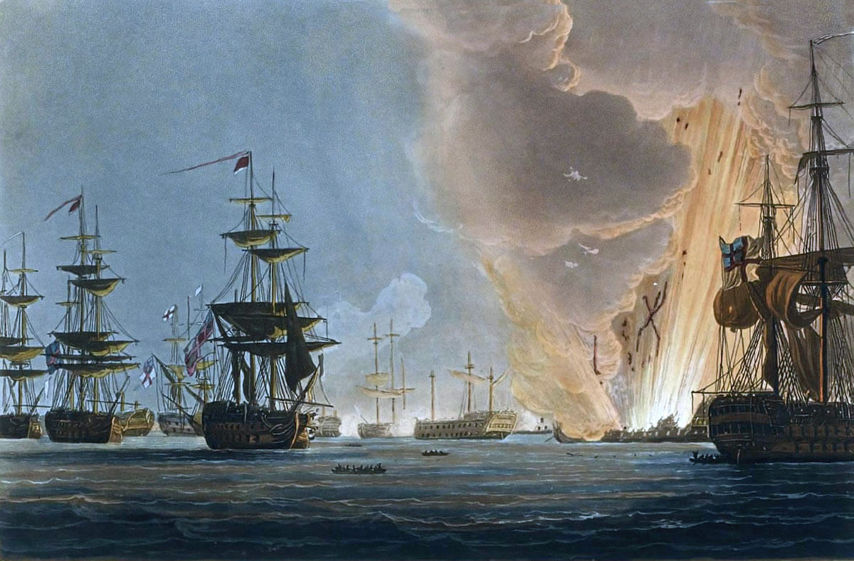 French Flagship L'Orient explodes at the Battle of the Nile on 1st August 1798 in the Napoleonic Wars: picture by Thomas Whitcombe