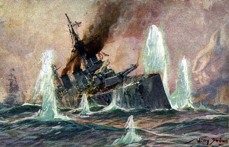 Admiral Beatty's flagship HMS Lion heavily damaged during the Battle of Dogger Bank on 24th January 1915 in the First World War: picture by Willy Stoewer