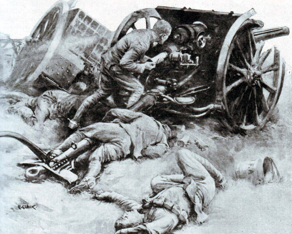 British 18 pounder in action in France 1914: Battle of the Marne, fought from 6th to 9th September 1914, during the First World War