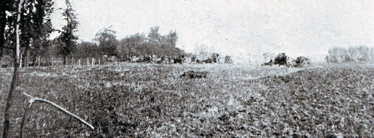 British RFA battery in action during the Battle of the Aisne, 10th to 13th September 1914 in the First World War