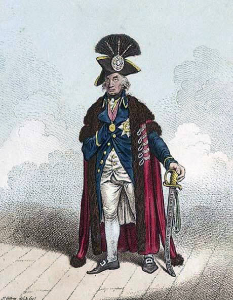 Gilray cartoon showing Nelson wearing the aigrette awarded to him by the Sultan of Turkey: Battle of the Nile on 1st August 1798 in the Napoleonic Wars