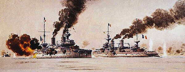 French battleships in the Dardanelles Narrows on 18th March 1915; Bouvet, sinking after striking a mine, and Suffren, under heavy Turkish shell fire: Gallipoli campaign Part I: the Naval Bombardment, March 1915 in the First World War