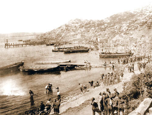 Anzac Cove showing the jetty built by Australian Engineers: Gallipoli Part III, ANZAC landing on 25th April 1915 in the First World War