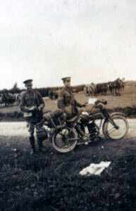 Motor cyclists of 5th Cavalry Brigade with the Royal Scots Greys machine gun section in the background (photo by Captain Harry Baird, ADC to General Haig)