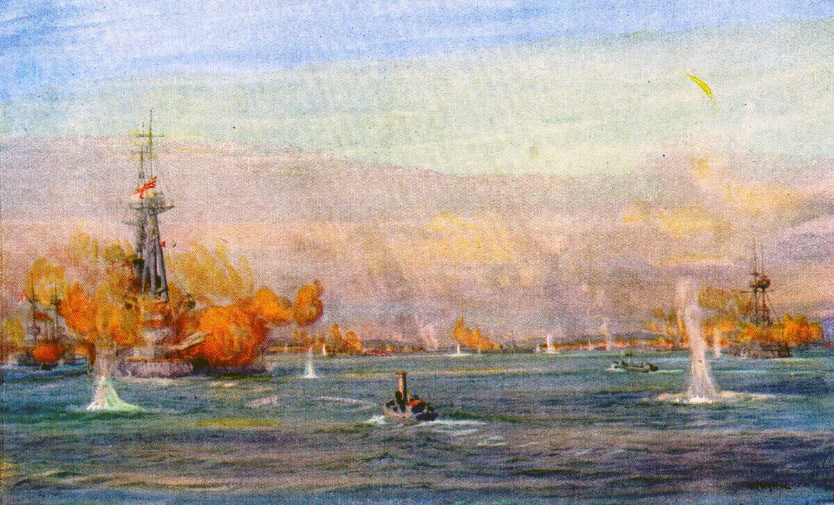 British battleships bombarding Turkish batteries at Chanak in the Dardanelles Narrows on 18th March 1915: Gallipoli campaign Part I: the Naval Bombardment, March 1915 in the First World War: picture by Lionel Wyllie