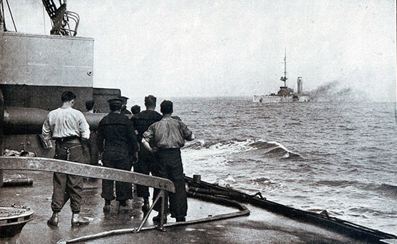 The sinking of the German light cruiser SMS Mainz during the Battle of Heligoland Bight on 28th August 1914 in the First World War; photograph taken from the deck of a British light cruiser