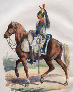French Cuirassier: Battle of the Passage of the Douro on 16th May 1809 in the Peninsular War: picture by Hippolyte Belange
