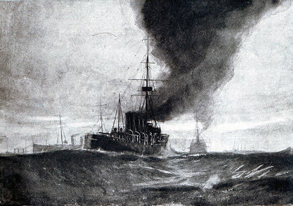 Commodore Goodenough's Light Cruiser Squadron at the Battle of Heligoland Bight on 28th August 1914 in the First World War