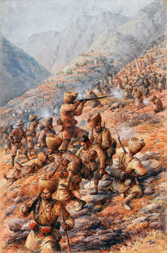 35th Sikh Infantry withdrawing under attack on 16th September 1897: Malakand Field Force, 8th September 1897 to 12th October 1897 on the North-West Frontier of India: picture by Edmund Hobday