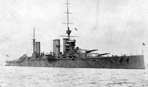 British battle cruiser HMS Lion, Rear Admiral Beatty's flagship at the Battle of Heligoland Bight on 28th August 1914. The three ships of Beatty's battle cruiser squadron, from the Grand Fleet based at Scapa Flow in the Orkneys, were sent to assist in the Battle of Heligoland Bight on 28th August 1914 in the First World War. Their presence proved decisive, the ships sinking the German light cruisers, SMS Cöln and Ariadne
