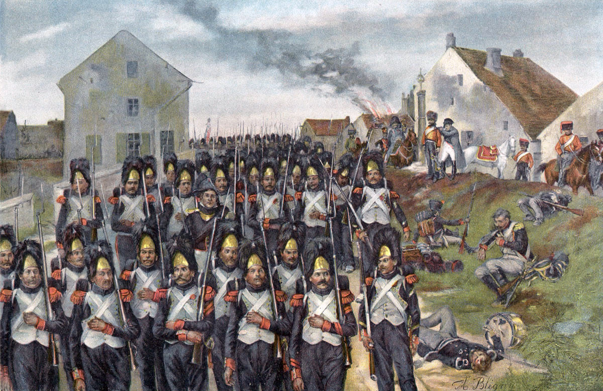 The Imperial Guard advances at the end of the Battle of Waterloo on 18th June 1815