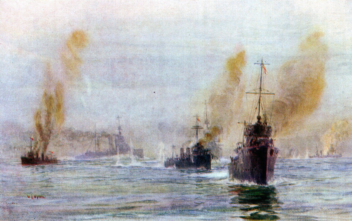 Beatty's battle cruisers arriving in the nick of time at the Battle of Heligoland Bight on 28th August 1914 in the First World War: picture by Lionel Wyllie
