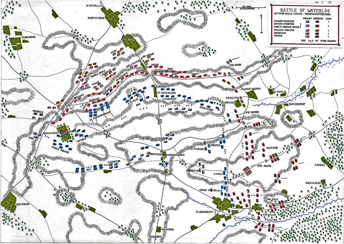 Map of the Battle of Waterloo at 7pm on 18th June 1815: the Attack of the French Imperial Guard: map 3 by John Fawkes