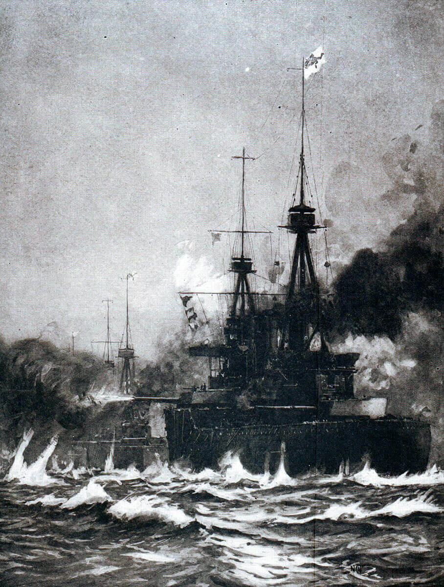 Beattie's battle cruisers in action at the Battle of Heligoland Bight on 28th August 1914 in the First World War