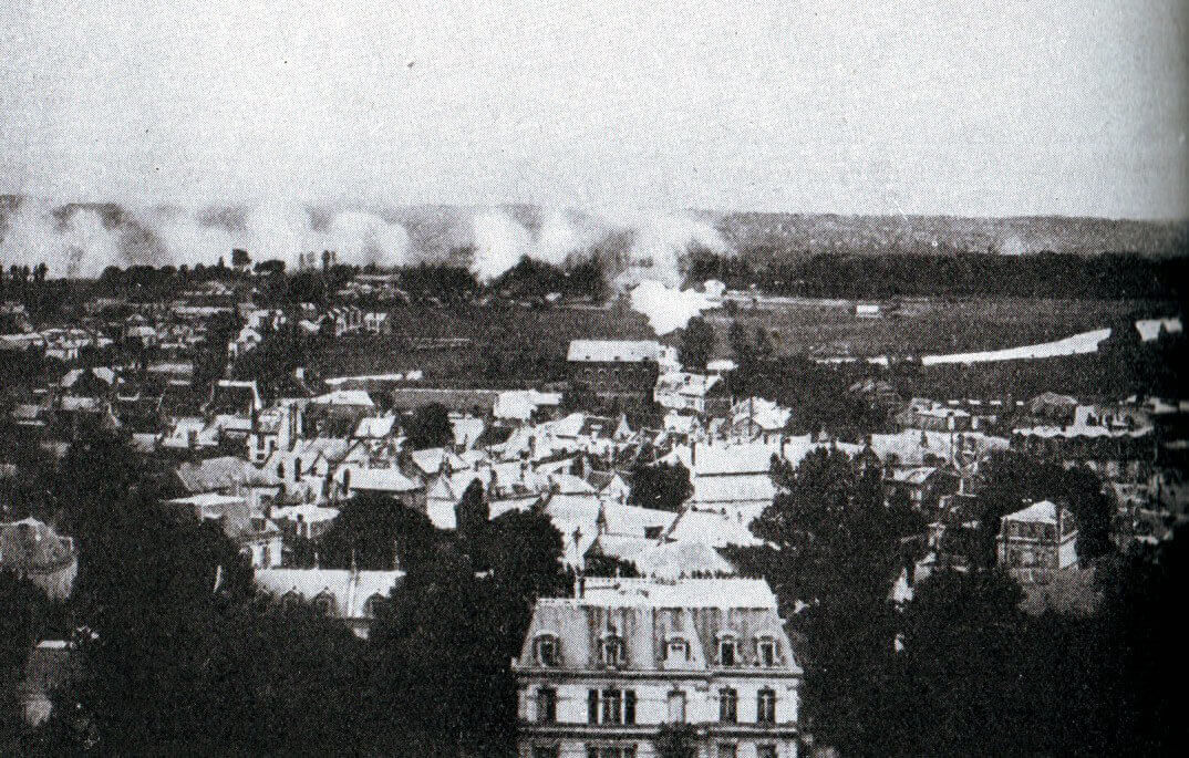 Soissons under German bombardment during the Battle of the Aisne, 10th to 13th September 1914 in the First World War