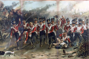 Attack of the 52nd Light Infantry on the Imperial Guard at the Battle of Waterloo on 18th June 1815: picture by Laslett J. Pott