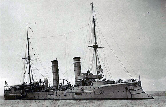 German light cruiser SMS Ariadne, sunk by Beatty's battle cruisers during the Battle of Heligoland Bight on 28th August 1914 in the First World War