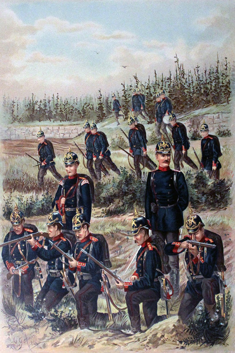 125th Würtemberg Infantry Regiment of the German Army during exercises in around 1905: Battle of Mons on 23rd August 1914 in the First World War: illustration by Major General von Specht