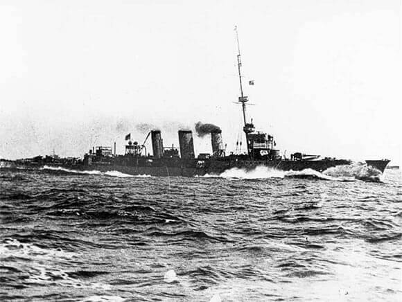 British light cruiser HMS Arethusa, Commodore Tyrwhitt's flagship in the Battle of Heligoland Bight on 28th August 1914 in the First World War